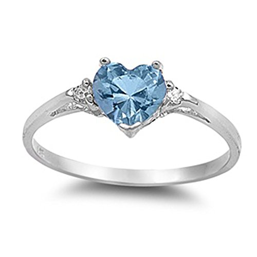 Sac Silver  Sterling Silver Simulated Aquamarine  Heart Promise Ring, 7 (March Birthstone Promise Ring)