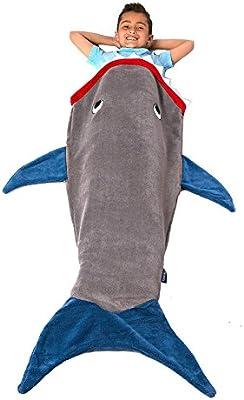 zerlar franela manta suave de tiburón cola de pez para niños los niños sofá sala de estar edredón todas temporadas saco de dormir 55