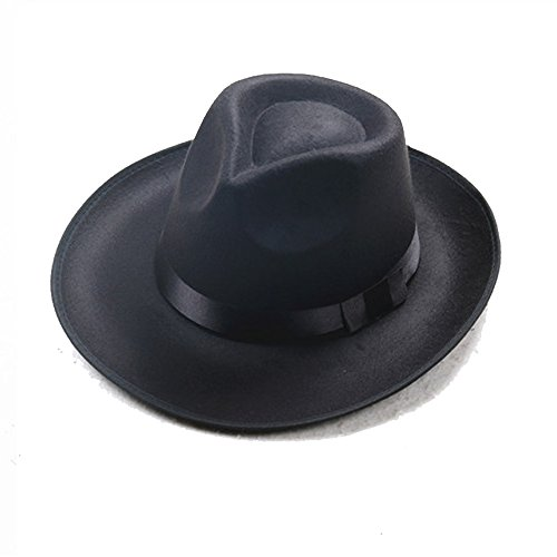 1920s Mens Accessory Set Manhattan Fedora Hat, Suspenders Y-Back Elastic Trouser Braces,Pre Tied Bow Tie,Gangster Tie (OneSize, Black)