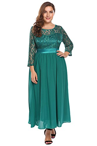 Involand Women Plus Size Lace Floral Hollow 3/4 Sleeve Party Evening Maxi Dress