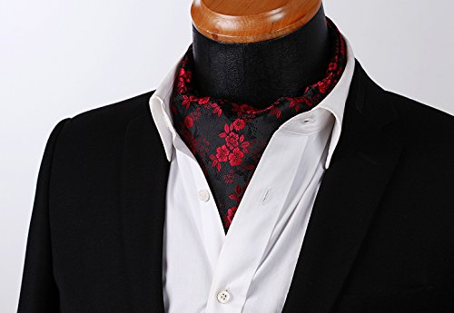 HISDERN Jacquard Floral Men's Set Burgundy Woven Ascot Black 6rT8rABxwq