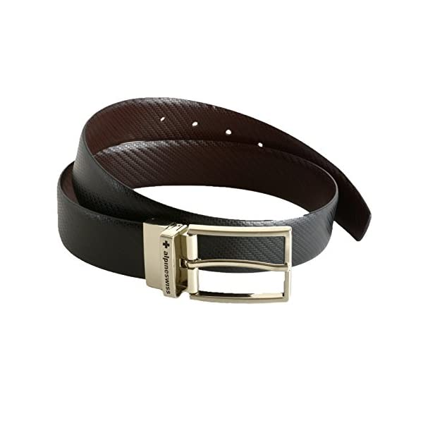 Alpine Swiss Mens Dress Belt Reversible Black Brown Leather Imported from Spain