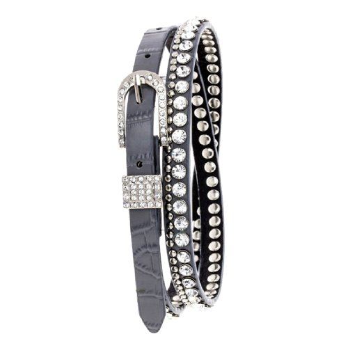 Smokey Grey Leather Skinny Belt with Clear Crystals and Silver Studs, M/L