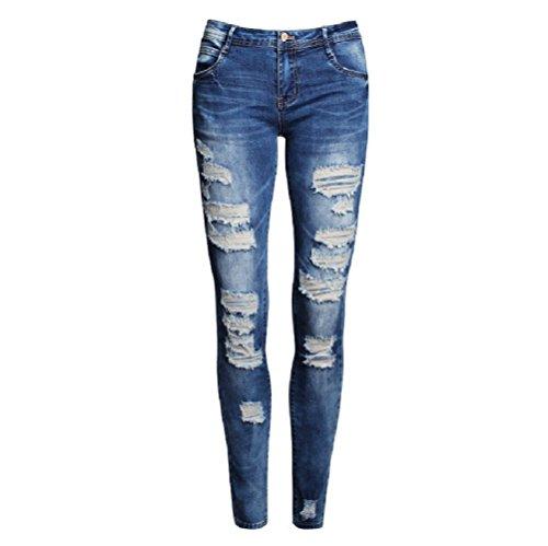 Con Buchi Zipper Jeans Front Da Skinny Donna Blu Button A Fuweiencore Vita Bassa Pantaloni aIq7PxaB