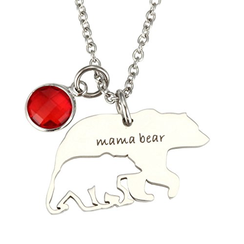 Birthstone Bear (T-PERFECT LIFE Love Gift To Mama Birthstone Hollow-out Mama Bear Pendant Necklace (July))
