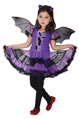 Bat Ballerina Costume (Girls Purple Bat Halloween Costumes Role Play Children Cosplay Ballerina Dress Up (Large))