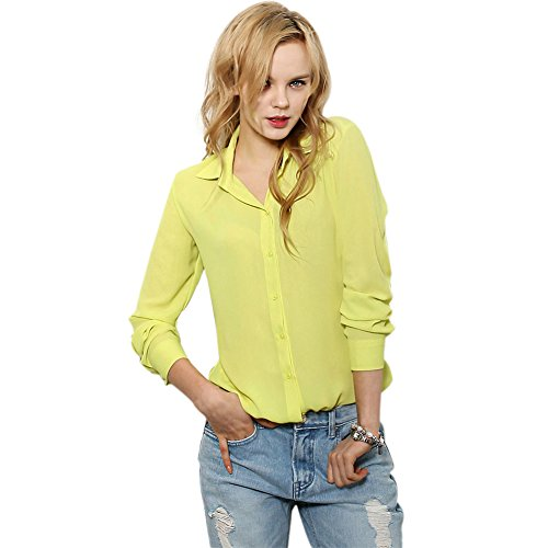 CHN'S Women Long Sleeve T-shirt Stand Collar Blouse Button Chiffon Business (Chiffon Stand Collar)