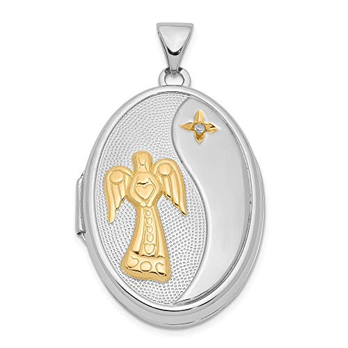 Sterling Silver Diamond Yellow Rhodium 26mm Angel Oval Locket ()