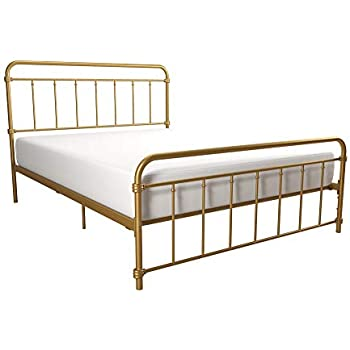 DHP Winston Metal Bed Frame, Multifunctional Piece with Adjustable Heights for Under Bed Storage, Gold - Full