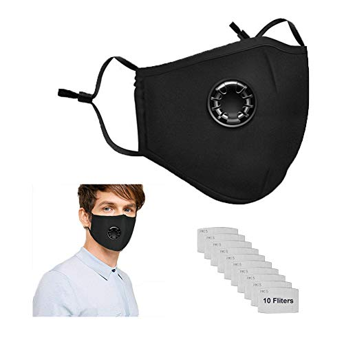 Safety Dust Mask with 2 Filters Easy Breathe Reusable Washable Face Mask Anti For Outdoor Sports, Gardening Travel Craftsman Resist Dust Germs Allergies PM2.5 Pollution(BLACK)