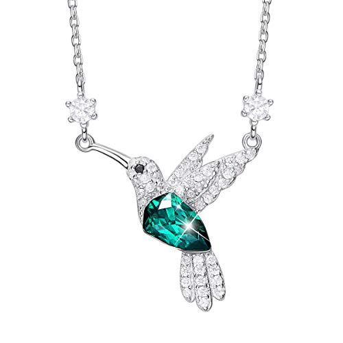 CDE Hummingbird S925 Sterling Silver Necklace for Women, Embellished with Crystals from Swarovski Fine Animal Jewelry Necklace Pendant, Gift for Mothers Day (Hummingbird Necklace C) ()