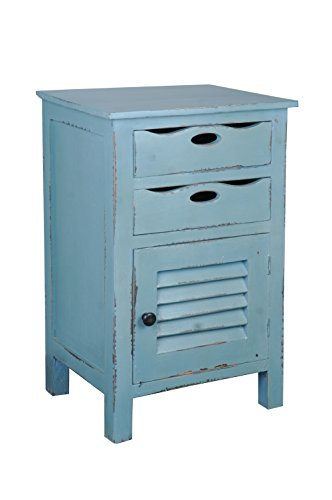 Sunset Trading CC-CHE512LD-BB Shabby Chic Cottage Side Table with Storage, Tray Drawer, Beach Blue