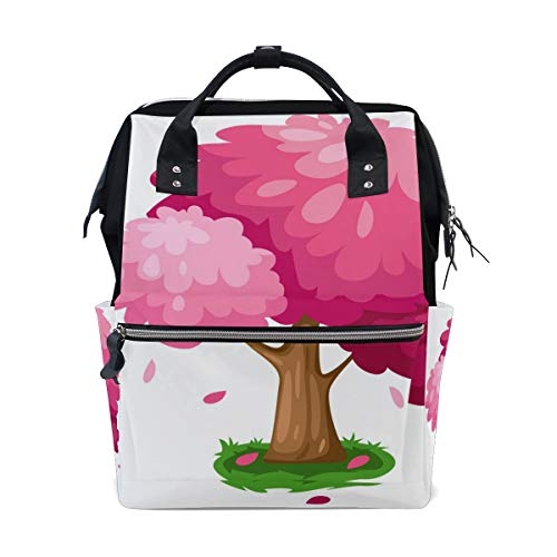 Diaper Bags Cute Pink Spring Tree Fashion Mummy Backpack Multi Functions Large Capacity Nappy Bag Nursing Bag for Baby Care for Traveling ()