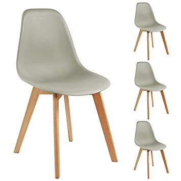Moloo Design Lot X4 Chaises Scandinaves Pp Gris Pieds Hetre Lena