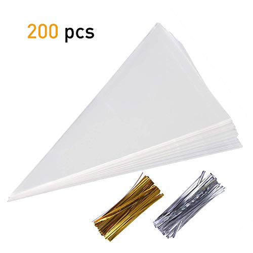 SBYURE 200 Pcs Clear Cone Shaped Treat Bags Cellophane Triangle Candy Bags with 200 Twist Ties for Favor Candy Popcorn Handmade Cookies Sweets Crafts,15'' x7''