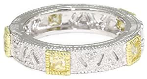 "Judith Ripka ""Estate"" Square Stones Band Yellow Ring, Size 7"