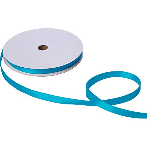 Jillson Roberts Bulk 5/8-Inch Double Faced Satin Ribbon Available in 21 Colors, Turquoise, 100 Yard Spool (BFR0939)