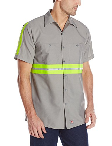 - Red Kap Men's Enhanced Visibility Industrial Work Shirt , Grey with Yellow/Green Visibility Trim,  Short Sleeve Small