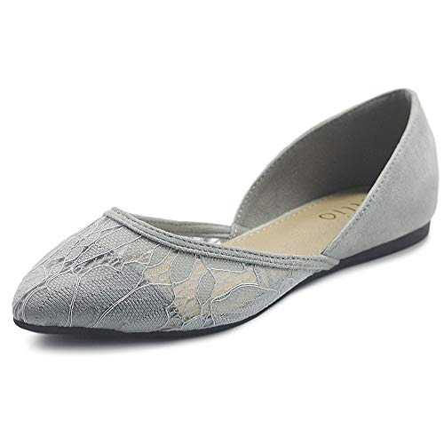 Ollio Women's Shoes Faux Suede Floral Mesh Lace Breathables Pointed Toe Ballet Flats F90 (10 B(M) US, Light Grey)