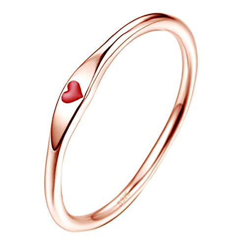 AVECON Simple Design Silver Eternity Engagement Ring Rose Gold Plated Red Heart Ring for Women Size 7.5