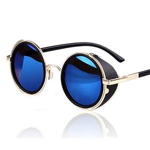 AV SUPPLY Hot Steampunk Retro Style 50s Silver & Black Frame Round Blue Mirror Lens Glasses Blinder Beach Sunglasses
