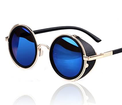 132ca740df8b6 Amazon.com  AV SUPPLY Hot Steampunk Retro Style 50s Silver   Black Frame  Round Blue Mirror Lens Glasses Blinder Beach Sunglasses  Automotive