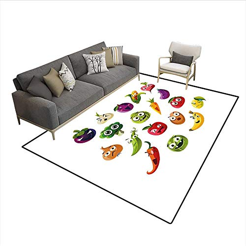 (Carpet,Fruits and Vegetables Carrot Banana Pepper Onion Garlic Food Cartoon Style Symbols,Customize Rug Pad,Multicolor 5'x6')