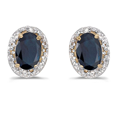 (14K Yellow Gold Oval Sapphire and Diamond Earrings (1ct)