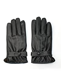 Cool Fastened Soft Feel Motorcycle Mens Faux Nappa Leather Warm Winter Gloves L