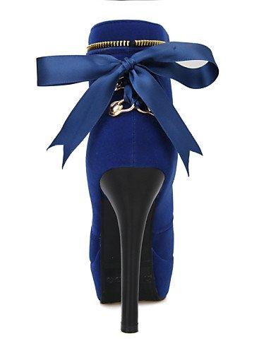 La Xzz Tacón Noche us5 us6 Uk3 Cn36 Vestido Azul Y Rojo Cn34 Moda Mujer Negro Stiletto Eu35 De Zapatos Eu36 Uk4 A Botas Fiesta Black Red Vellón rwxq7r