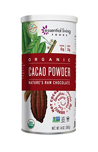 Essential Living Foods Organic Cacao Powder, Healthy Unsweetened Chocolate Powder for Smoothies, Desserts, Vegan, Superfood Protein Nutrients, Non-GMO, Gluten-Free, Kosher, 14 Ounce Tin