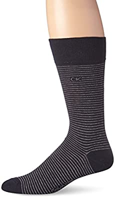 Calvin Klein Men's Fine Stripe Crew Socks, Charcoal Heather, 7-12 Shoe Size