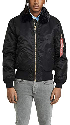 (Alpha Industries Men's B-15 Slim-Fit Bomber Flight Jacket,Black,Large)
