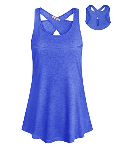 Cyanstyle Tank Tops for Leggings for Women Ladies Boat Neck Tunic Sleeveless Designer Elegant Dressy Cute Long Going Out Casual Summer Clothing Beach Swing Shirts Blue M