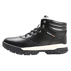 Sky SHOP Mens Warm Outdoor Leather Lace up Fur Lining Ankle Snow Boots High Top Sneakers(9 D(M) US£¬Black)