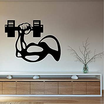 Hwhz 76 X 56 Cm Vinilo Tatuajes De Pared Culturista Hombre Mano Mancuerna Gimnasio Interior Decoración Arte Mural Fitnesscentre Decor Etiqueta De La Pared: ...