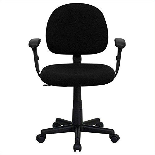 Flash Furniture BT-660-1-BK-GG Mid-Back Ergonomic Black Fabr