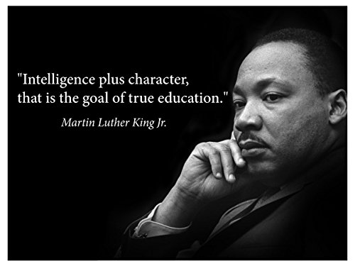 (Martin Luther King Jr. Poster Famous Inspirational Quote Banner for classrooms Education Wall Art Photograph Picture Black History Month Famous African American Hero Activism Teacher (Fine)