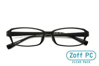 【Zoff PCクリアレンズ・パック】パソコン用メガネ PCメガネ シャープなスクエア(度なし)(Matt Black)