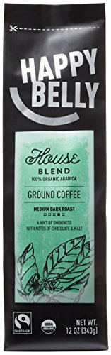 Happy Belly Enterprise Blend Organic Fairtrade Coffee, Medium Dark Roast, Ground, 12 ounce