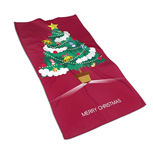 SWATLOGR Christmas Trees Merry Christmas Face Towel,Hand Towel,Kitchen Towels-Dish 3D Design Pattern Towel,Towels for The Kitchen,Cleaning,Cooking,Baking,Dishwashing Towel 15.7x27.5in