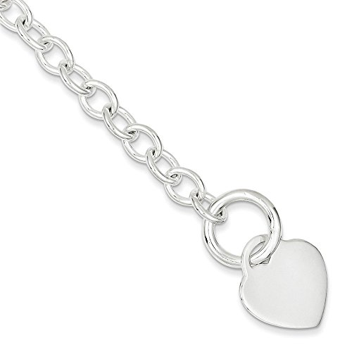 PriceRock Sterling Silver Heart Disc Toggle Bracelet 7.75 Inches (0.71 Inches Wide) from PriceRock