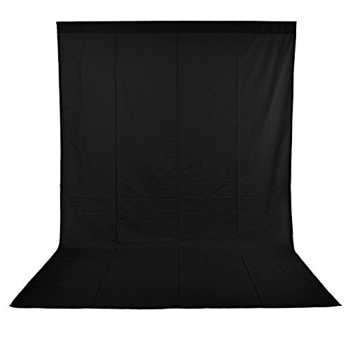 x 3.6M PRO Photo Studio 100% Pure Muslin Collapsible Backdrop Background for Photography,Video and Televison (Background ONLY) - BLACK (3 Muslin)