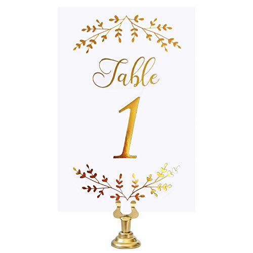 VNS Creations Gold Foil Table Numbers Cards. 4 x 6 Inches Double Sided Table Numbers Perfect for Wedding, Receptions, Parties, Events, Banquets. Numbers 1-25 and Head Table Card -