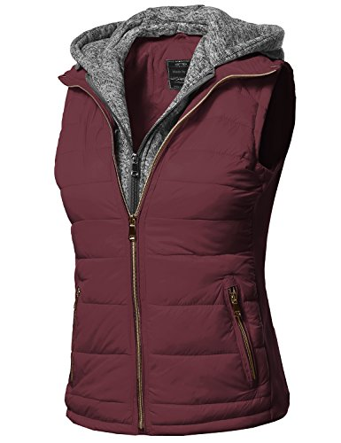 Awesome21 Casual Solid Double Zipper Detachable Hoodie Padding Vest Burgundy Size L (Womens Hooded Vest)