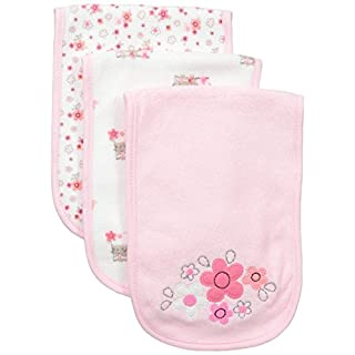 Gerber Baby Girls 3 Pack Terry Burp Cloth, Lil' Flowers, One Size
