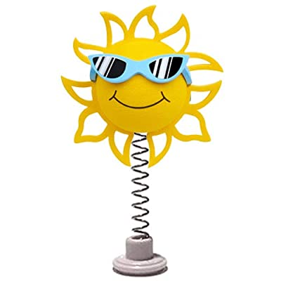 Coolballs California Sunshine w Sunglasses Car Antenna Topper/Rear View Mirror Dangler/Desktop Spring Stand Bobble (Blue Sunglasses - Fits Thick Fat Style Antenna): Automotive