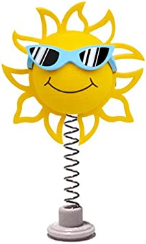 Coolballs California Sunshine w Sunglasses Car Antenna Topper//Rear View Mirror Dangler//Desktop Spring Stand Fits Standard Thin Style Antenna Blue