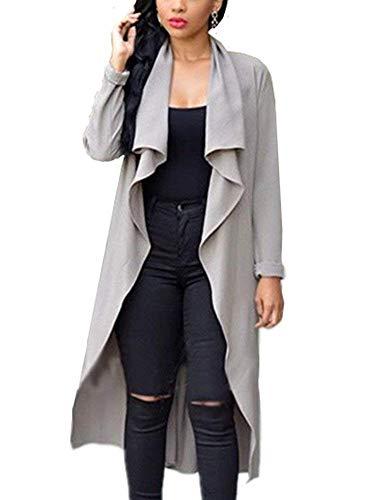 Sciolto Monocromo neck Grau Pieghe Manica Outerwear Giaccone Cardigan V Autunno Cintura Maglia Jacket Eleganti Donne A Casual Donna Moda Casuale Lunga Invernali Giacca Elastica SwfXq4