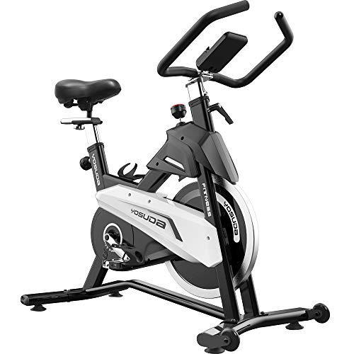 YOSUDA Stationary Exercise Bike 300lb Weight Support with Belt Drive Indoor Cycling Bike Adjustable(28-37inch) Inseam Height